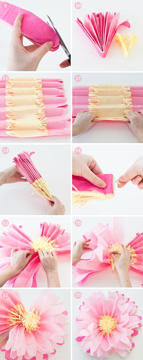 These tissue paper flowers are gorgeous! Let the kids help make a bunch of these...