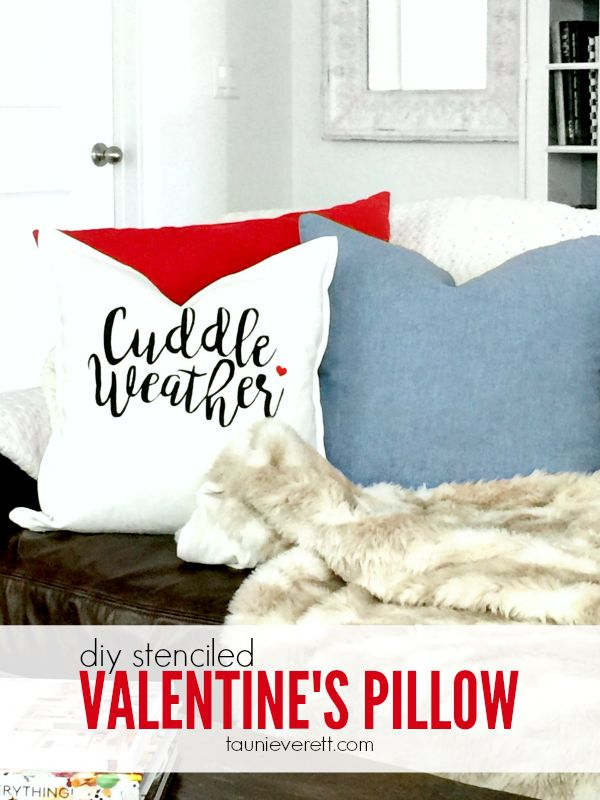 This fun DIY Stenciled Valentine's Pillow is the perfect addition to your ho...