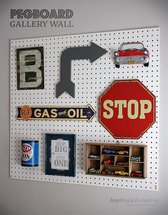 Vintage car Pegboard Gallery Wall for toddler boys room - Anything & Everything ...