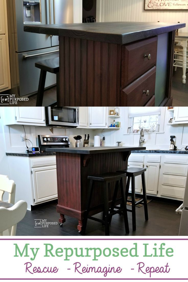 A Former Desk Becomes Kitchen Island That Is Actually Used For Craft Station