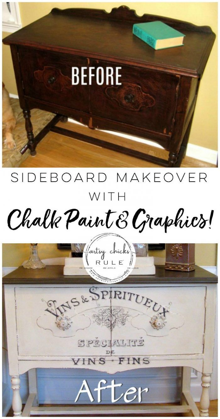 Chalk Paint Graphics....Transforms This Old Piece!! artsychicksrule.com #chalkpa...
