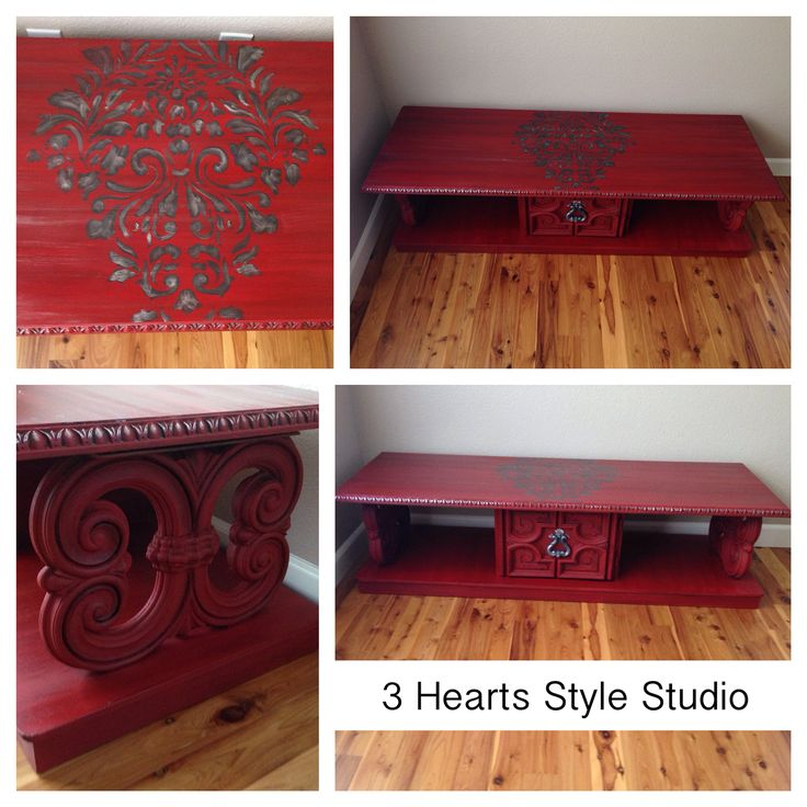 Custom painted red coffee table with Damask print. Custom painted furniture Denv...