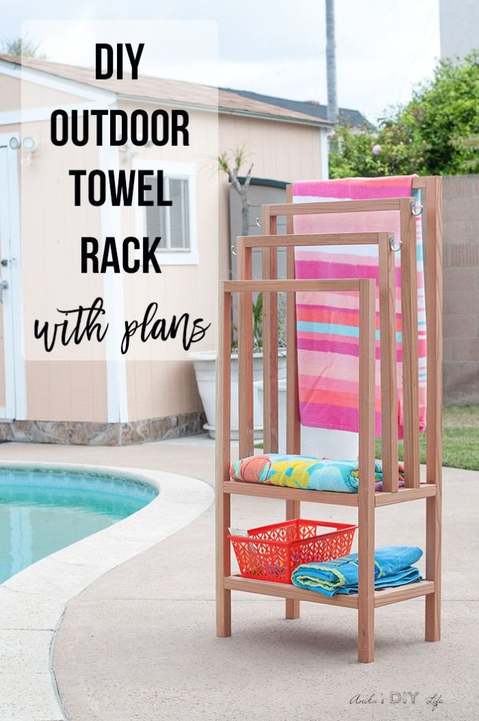 Diy Furniture Outdoor Freestanding Towel Rack Pool