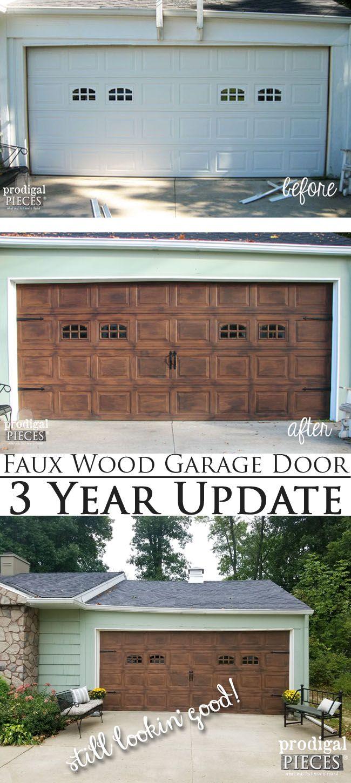 Faux Wood Garage Door 3 Year Update - Still Lookin' Good!   DIY tutorial by Prod...