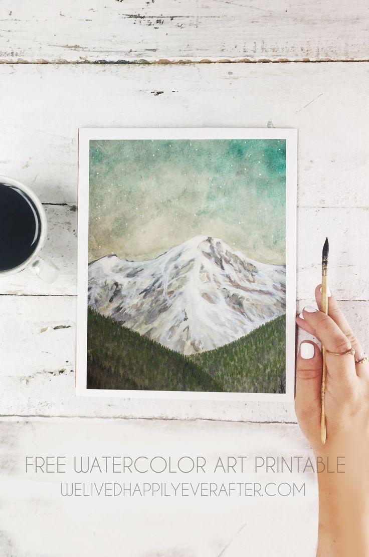 Free Sea Foam Blue Green Watercolor Mountain Forest Scenery Printable