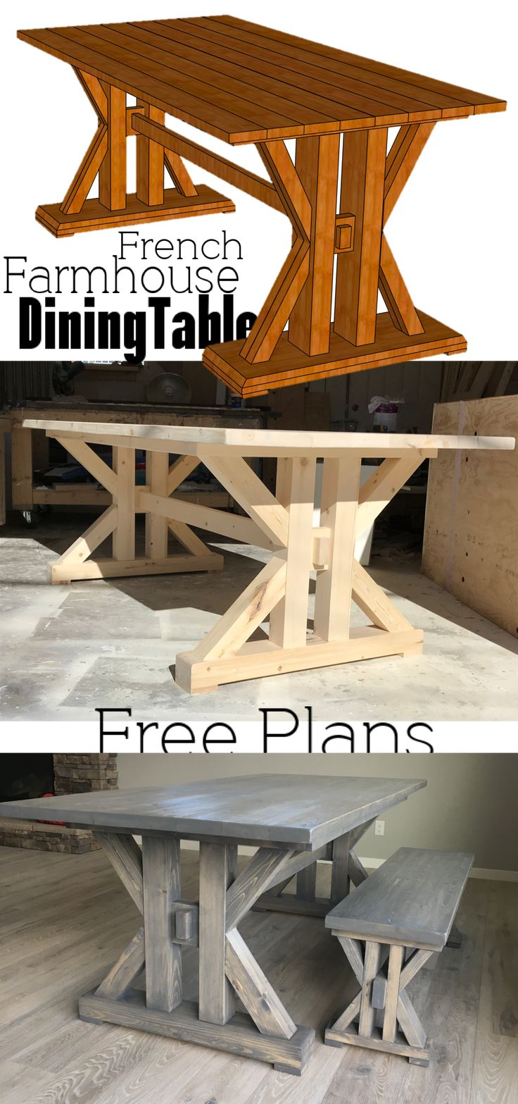 French Farmhouse Dining Table Free Plans for the home kitchen #diningtable #farm...