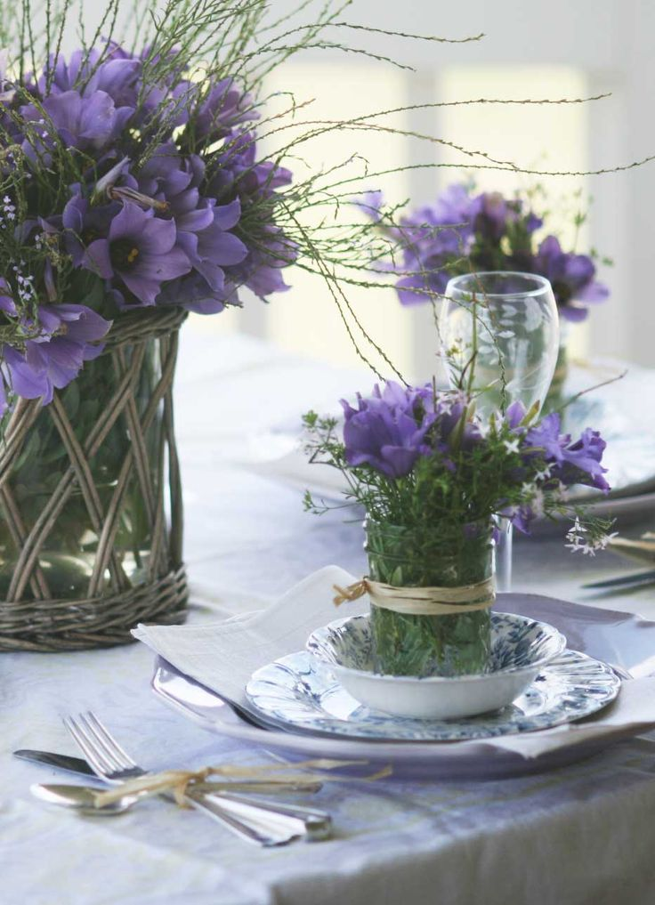 French Inspired Collections | Bluebells in vintage jars as centerpieces | Cedar ...