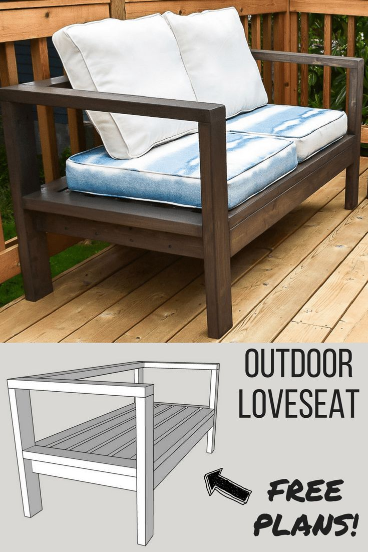 Get the free woodworking plans for this comfy DIY outdoor loveseat, and lounge o...