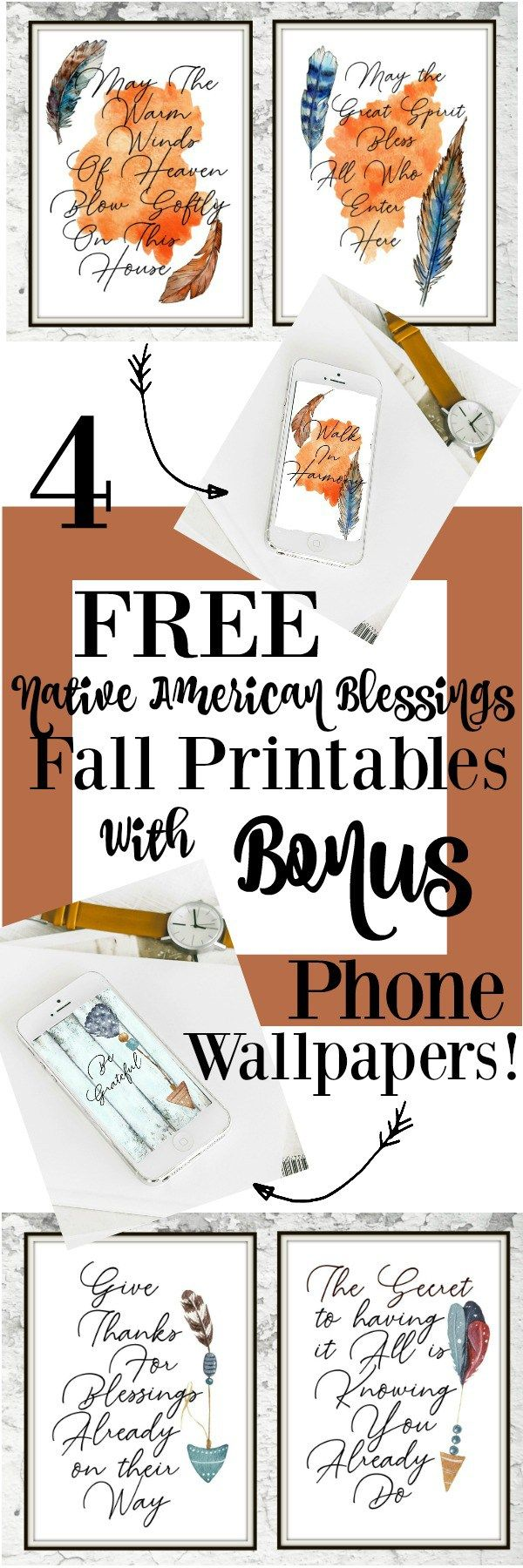 Get your FREE Native American blessings printables! With a bonus digital wallpap...