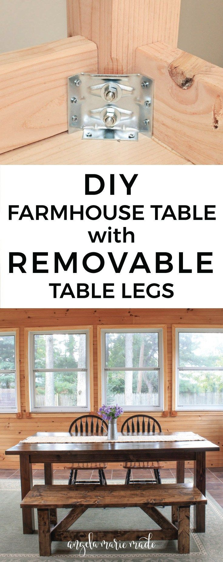 How to build a farmhouse table with removable legs. Click to get the free build ...