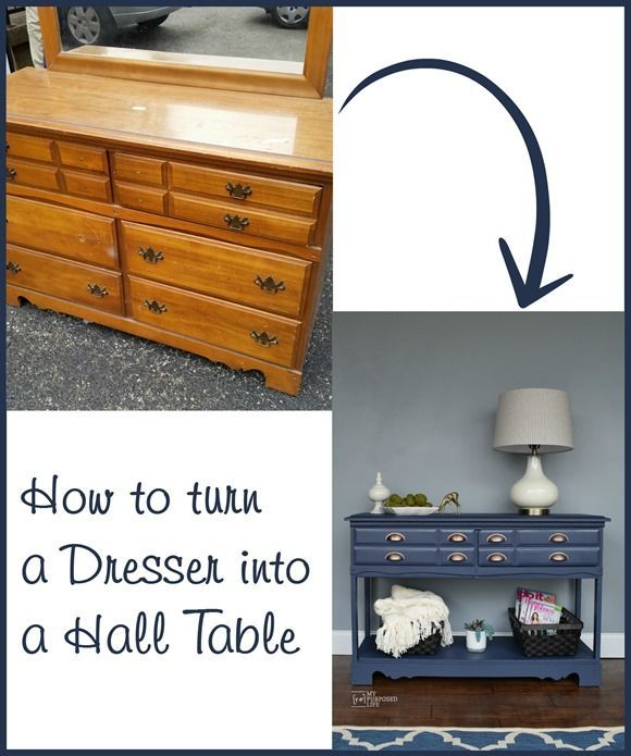 How to turn an old, uwanted dresser into a useful hall table or sofa table. MyRe...