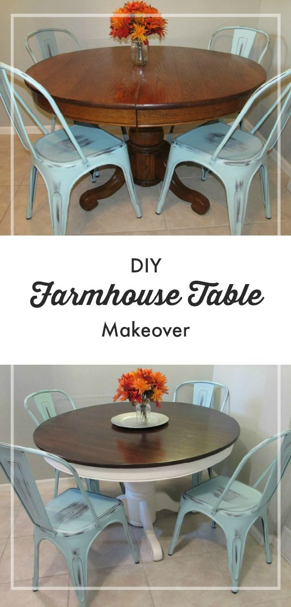 Look how amazing this DIY Farmhouse Table Makeover turned out! The best part abo...