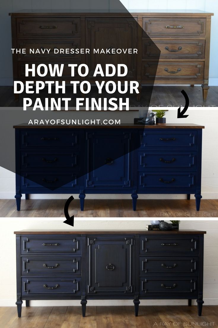 Navy blue dresser makeover into a TV stand by removing the drawers to create she...