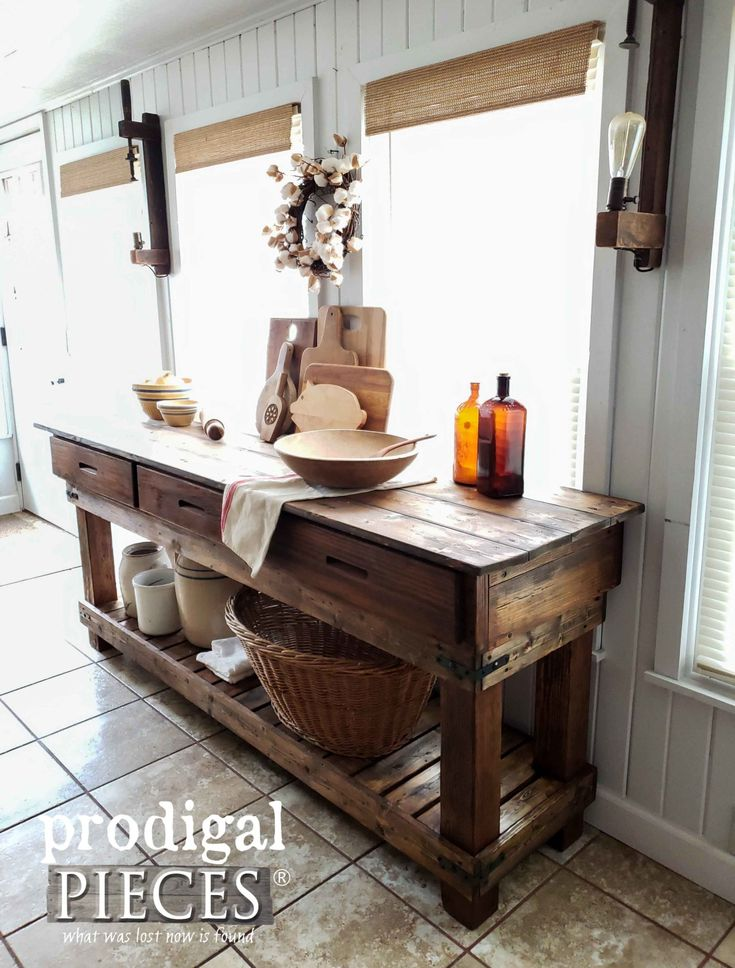 Rustic DIY Farmhouse Workbench Console by Larissa of Prodigal Pieces | prodigalp...