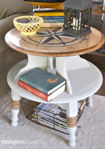 nautical compass side table - Check out these 15 Nautical Furniture Flips - DIY ...