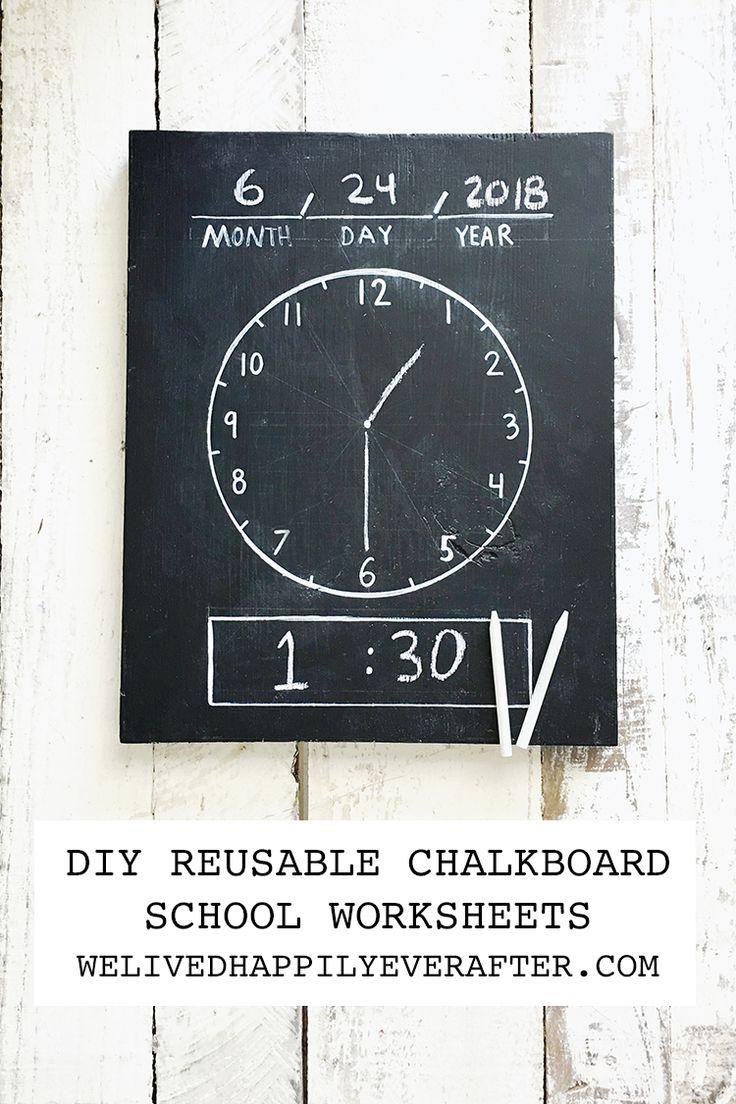 DIY Erasable/Reusable Homeschool Chalkboard Worksheets: Chalkboard Clock, Math, ...