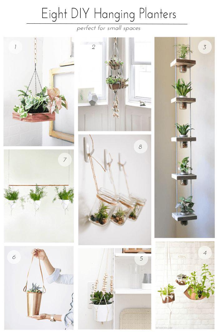 1 - DIY Hexagon Hanging Planter from Justina Blakeney, 2 - Hanging Succulent Gar...