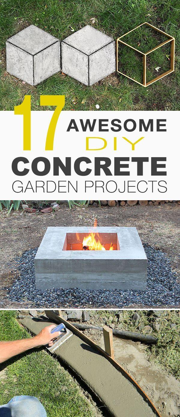 17 Awesome DIY Concrete Garden Projects! • Outdoor concrete table, concrete pl...