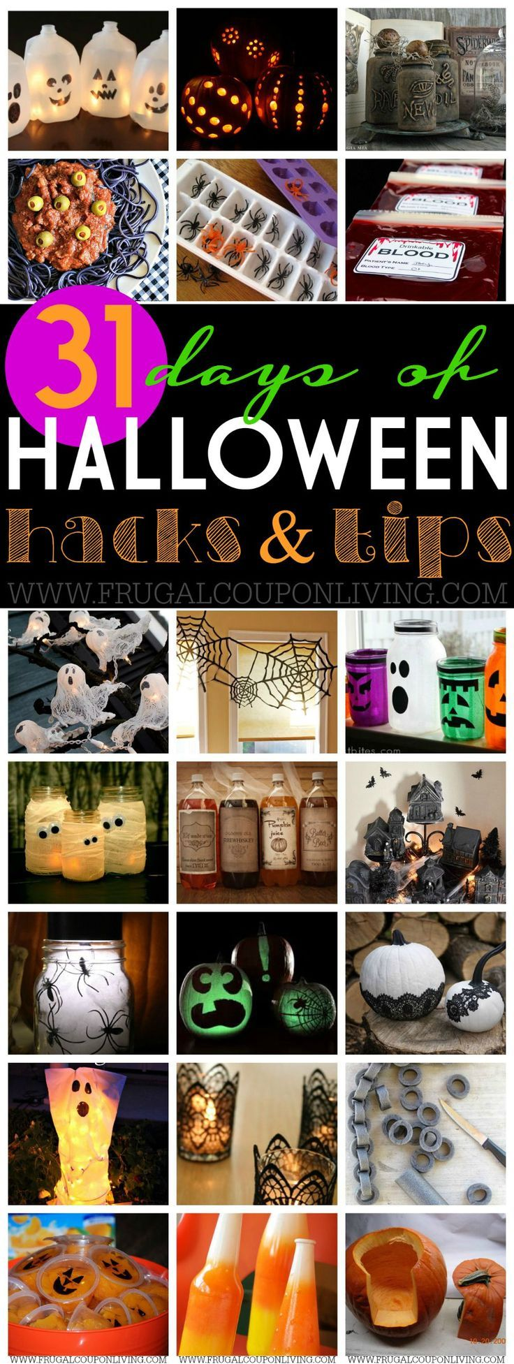 31 Days of Halloween Hacks & Tips on Frugal Coupon Living. Last minute decoratio...