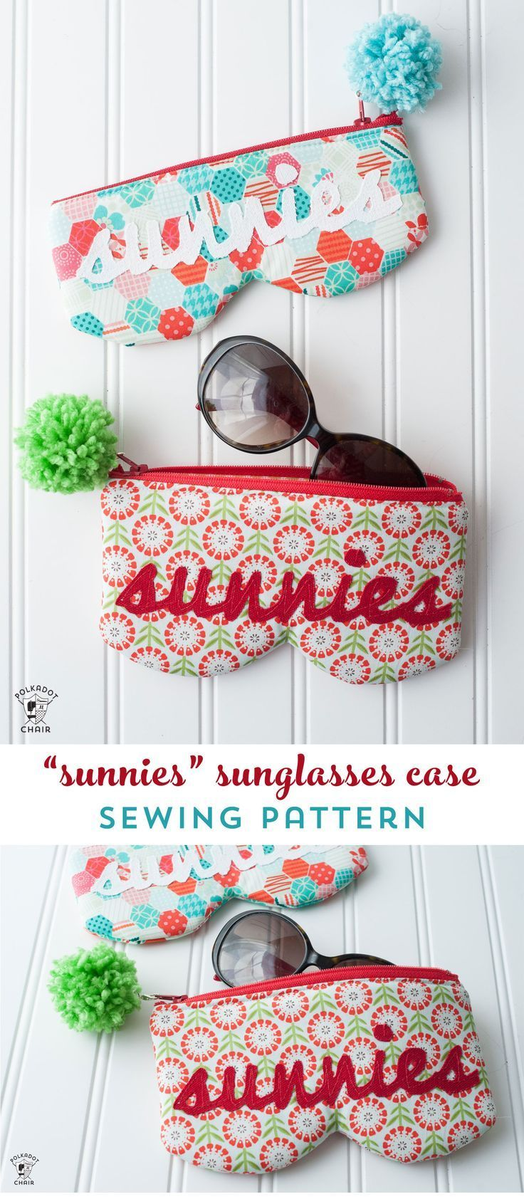 A free sewing pattern for a sunglasses case. How to sew a sunglasses case. #sewi...