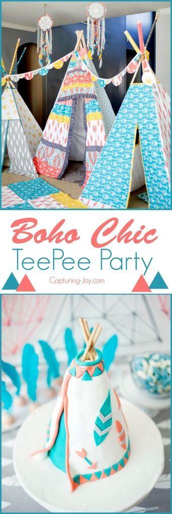 Boho Chic TeePee Birthday Party. Fun birthday party theme for preteens. www.kris...