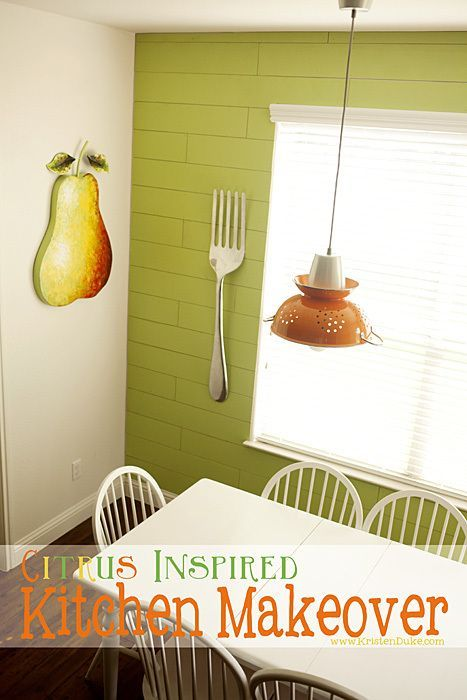 Citrus Inspired Kitchen Makeover. With a lime green, orange and yellow color the...