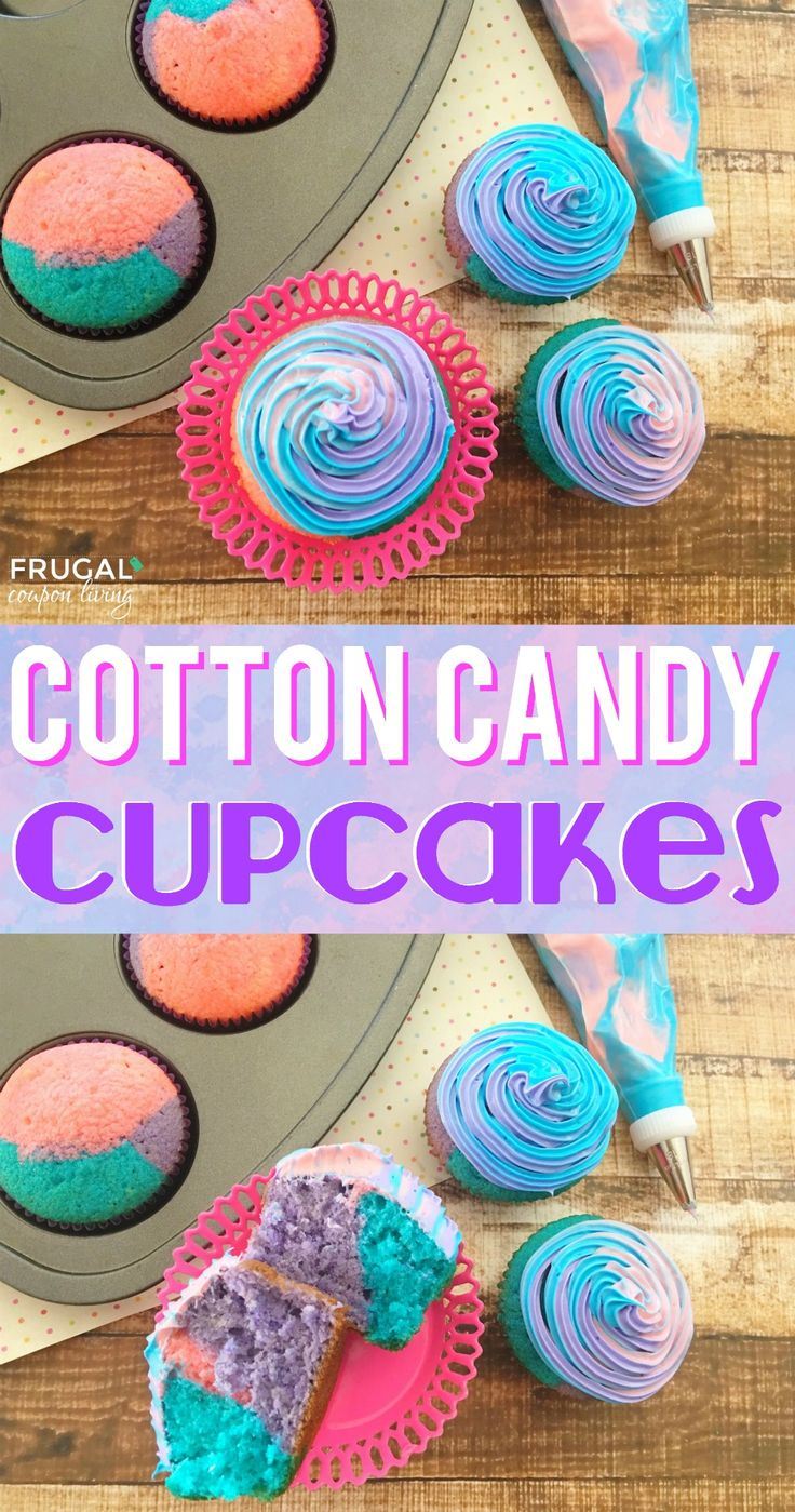 Cotton Candy Cupcakes. This cotton candy recipe is a delicious food craft for th...