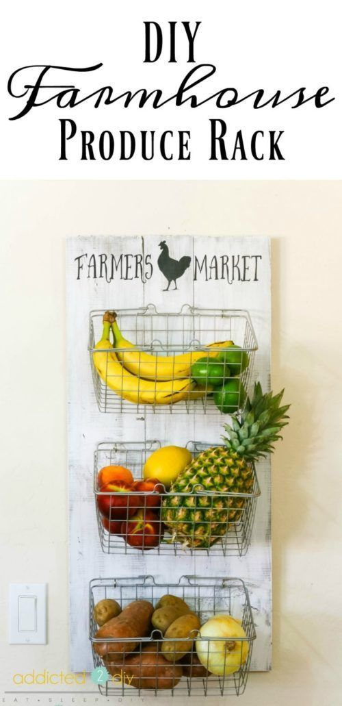 DIY Farmhouse Produce Rack. Weekend DIY Farmhouse Projects you can complete in a...