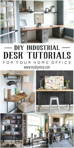 DIY Industrial Desk Tutorials for your Home Office. Great for adding a tough of ...