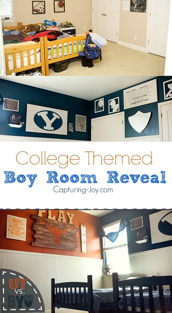 DIY boys room reveal. Shared boys room decorated in University of Texas and Brig...