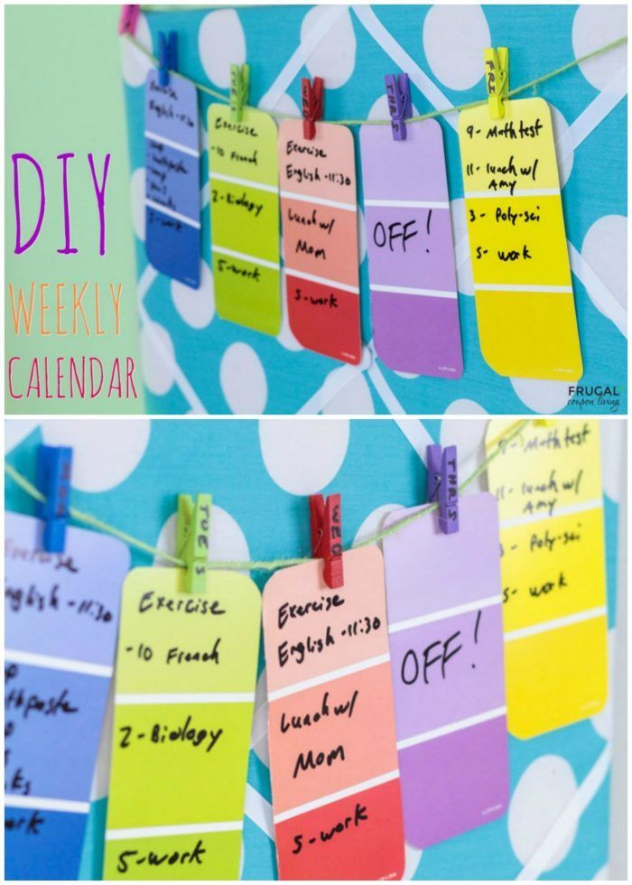 Do it yourself Weekly Dorm Room Calendar. This easy Paint Chip Craft can be done...
