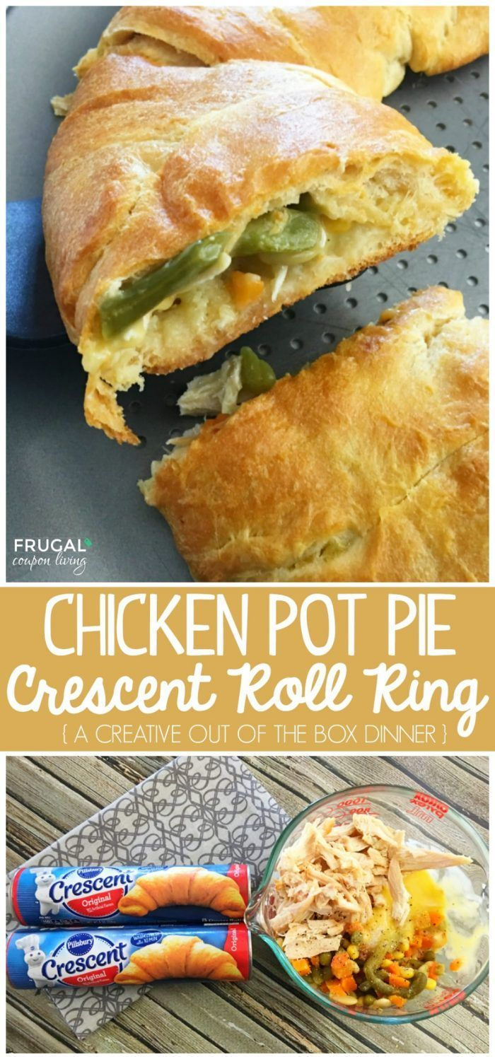 Easy Chicken Pot Pie Crescent Roll Ring. Make with a few simple ingredients, mak...
