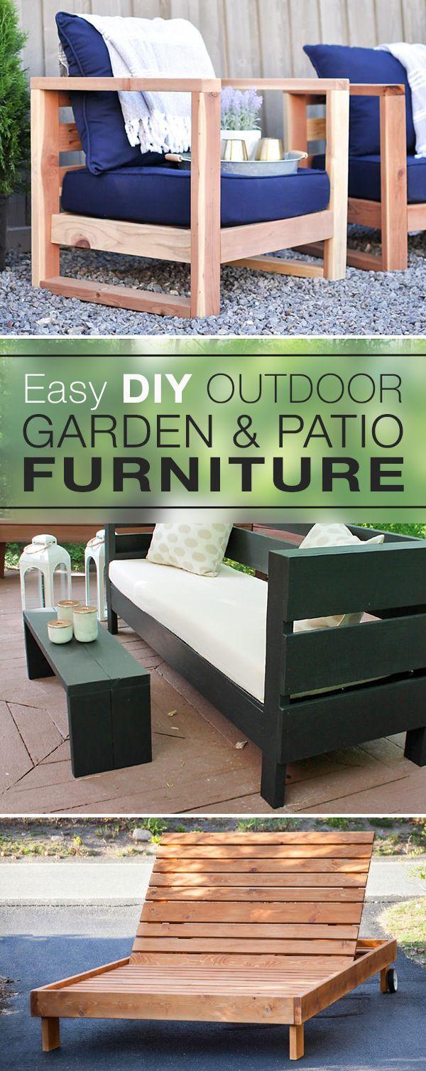 Easy DIY Outdoor Garden & Patio Furniture! • Click thru to learn how to make D...
