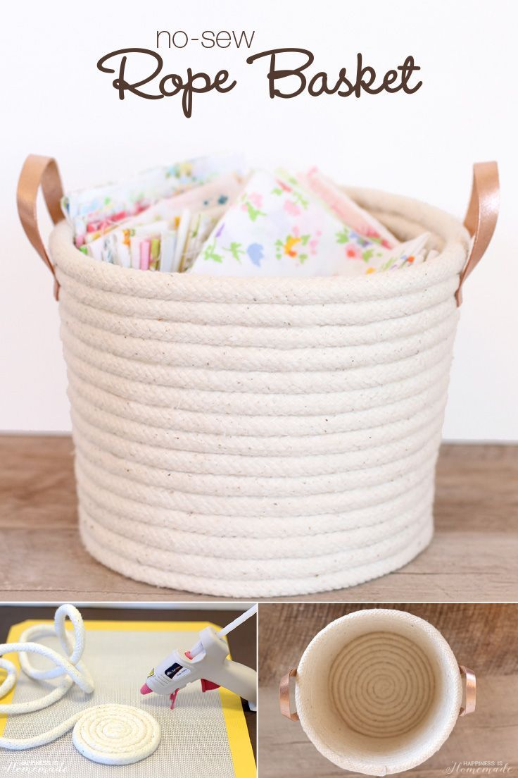 Easy No-Sew Rope Basket Project Tutorial: Use rope, leather strips, and Elmer&#3...