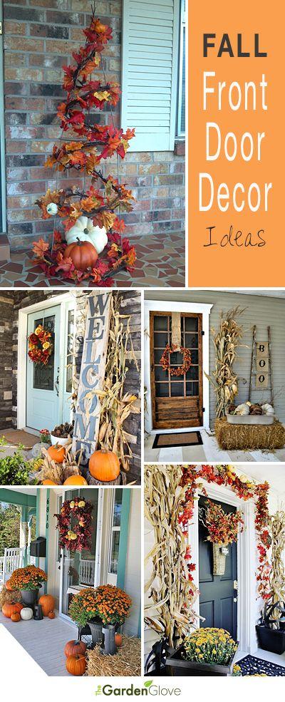 Fall Front Door Decor Ideas • Tips, Ideas and Tutorials! #FallDecorating #home...