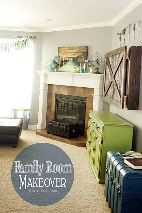 Family Room Makeover featuring a TV cabinet, furniture makeover, and links to my...