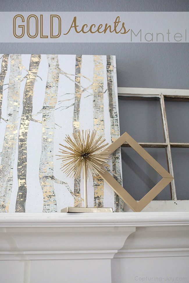 Gold Accent Mantel. Gold is such a fun color to decorate with! www.kristenduke.c...