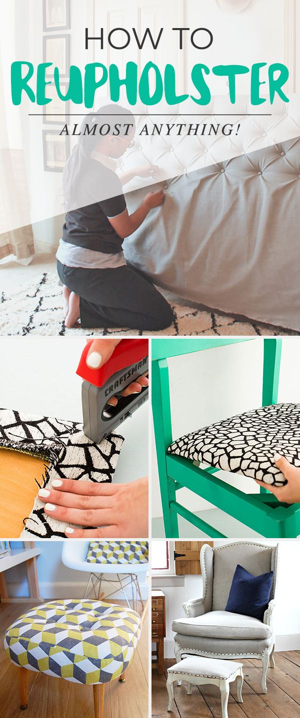 How to Reupholster Almost Anything • A fantastic blog post with ideas, project...