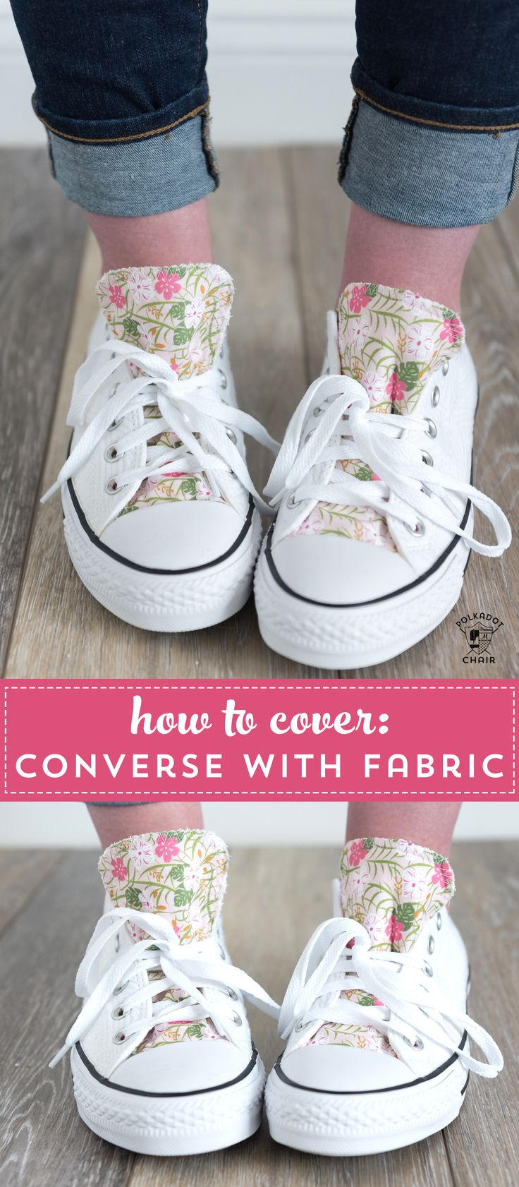 761ff71d4838 How to customize your converse with fabric - a DIY way to decorate the  tongue of