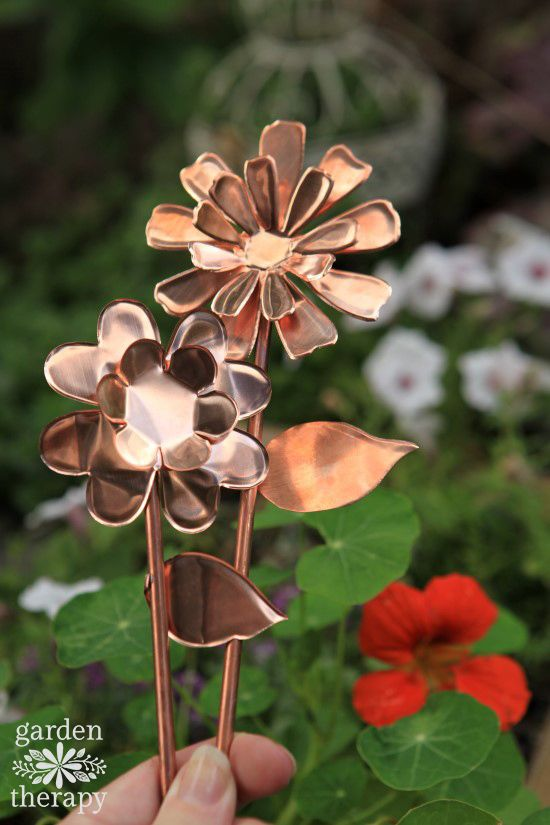 How to make DIY copper garden art flowers as weatherproof ornaments from the gar...