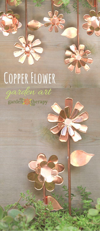How to make copper flower garden art using a die cutting machine #copper #diecut...