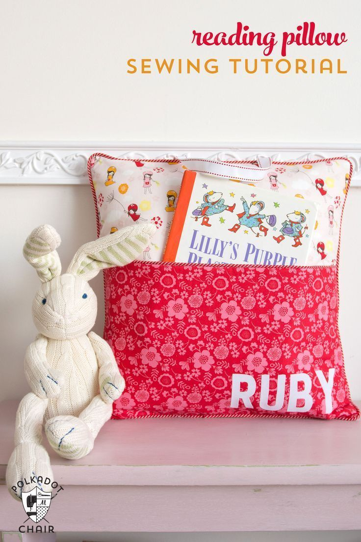 How to sew a personalized reading pillow with a pocket and handle - free sewing ...