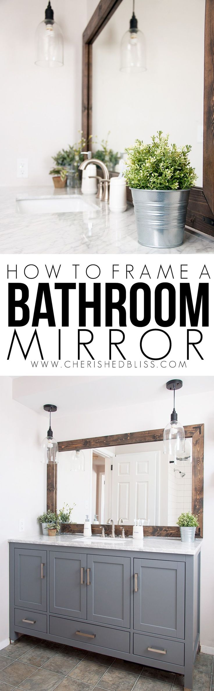 Improve the value of your bathroom with this easy tutorial on How to Frame a Bat...