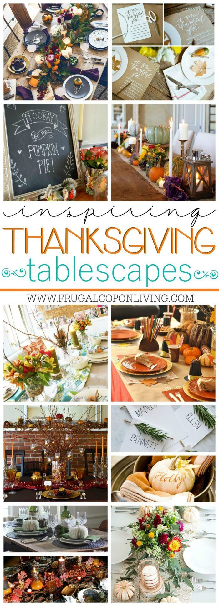 Inspirational Thanksgiving Tablescapes on Frugal Coupon Living. Fall Table Ideas...