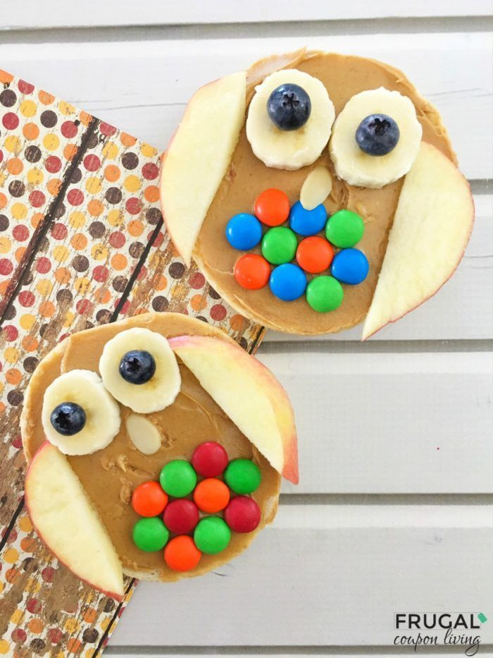 Kids Healthy Snack - A tasty Woodland Owl Bagel (or rice cake). This Food Craft ...