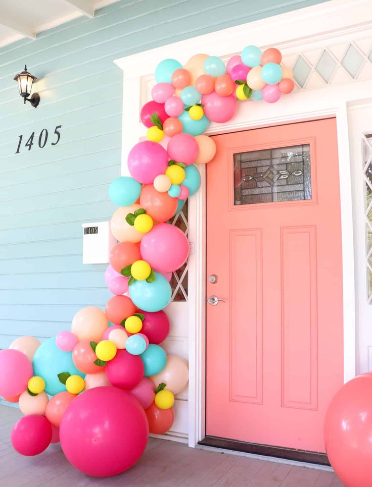 Learn how simple it is to make a balloon garland for your front door using this ...