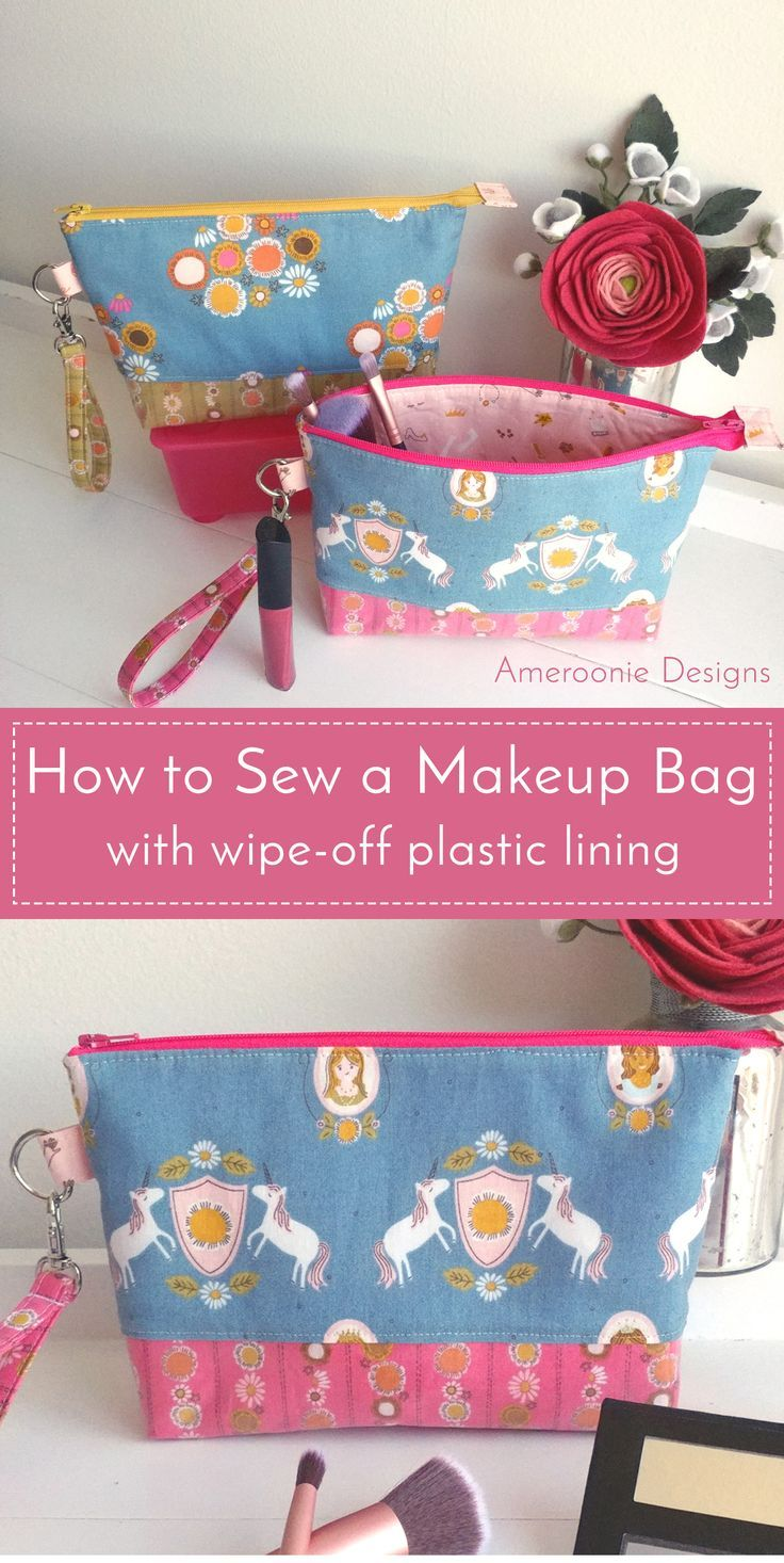 Learn how to make a makeup bag with a plastic lining. A fun wipe-off cosmetic ba...