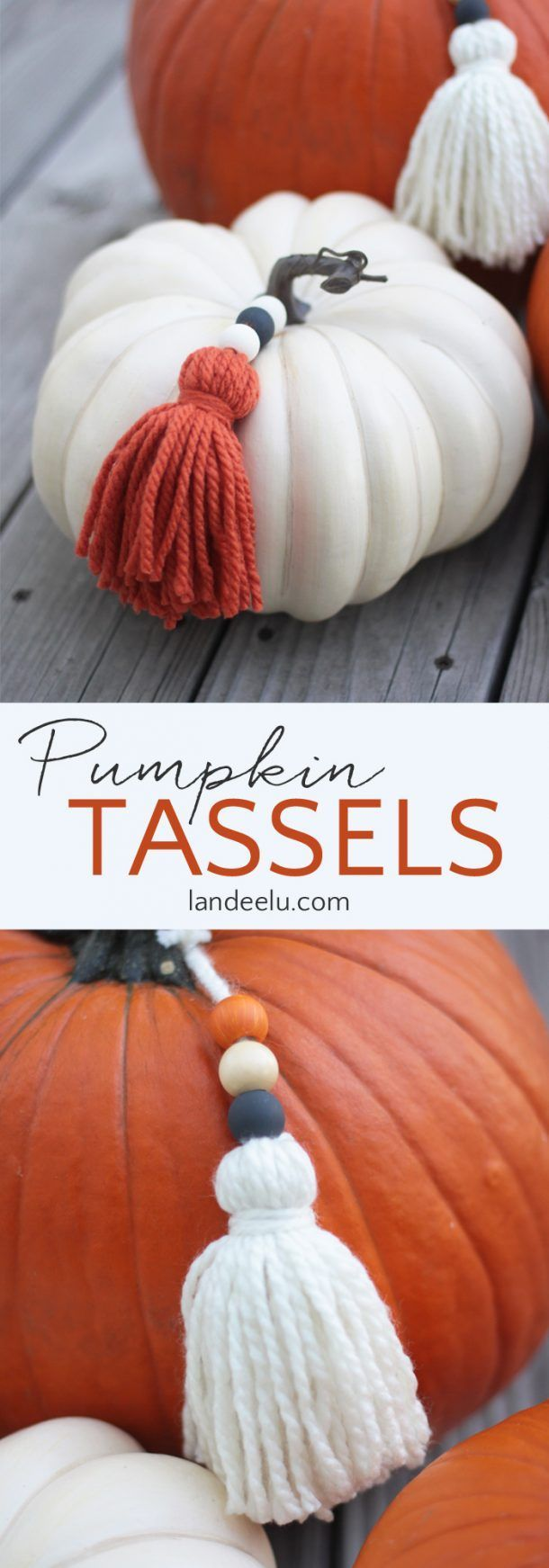 Make some trendy DIY yarn tassels and paint some wood beads to add to your pumpk...