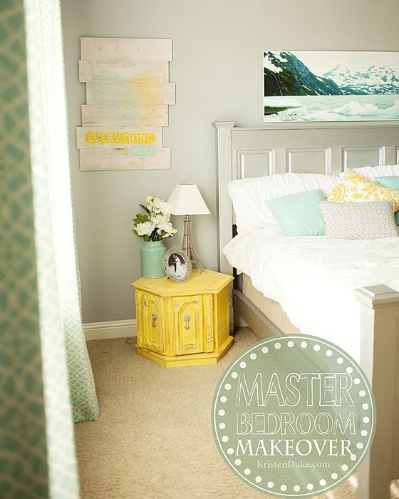 Master Bedroom Makeover. Featuring unique artwork, a custom headboard, painted f...