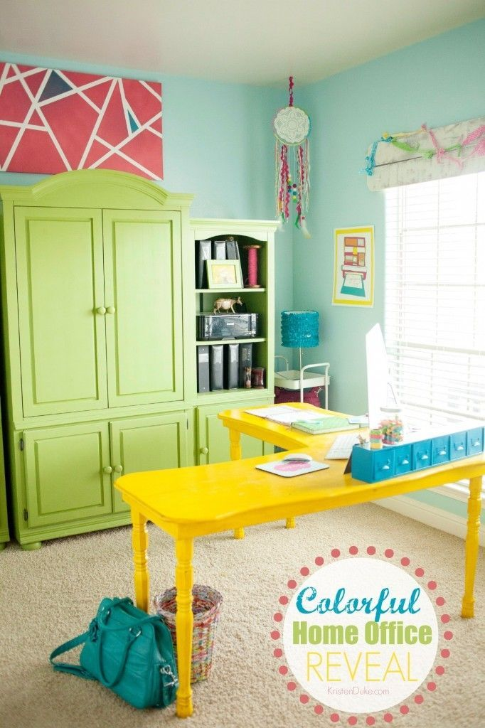 My Colorful Crafty Office, as part of a home tour. Featuring a bright color pale...